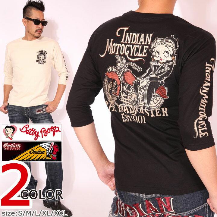 インディアンモトサイクル ベティブープ 6分袖 Tシャツ BBI-830 INDIAN MOTOCYCLE BETTY 刺繍 ワッペン 六分袖