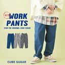 【除外】シェフパンツ / CUBE SUGAR デニム ストライプ ワークパンツ(3色): レディース ボトムス ズボン イージーパンツ ウエストゴム デニムパンツ ワイドパンツ ゆるまたパンツ キューブシュガー