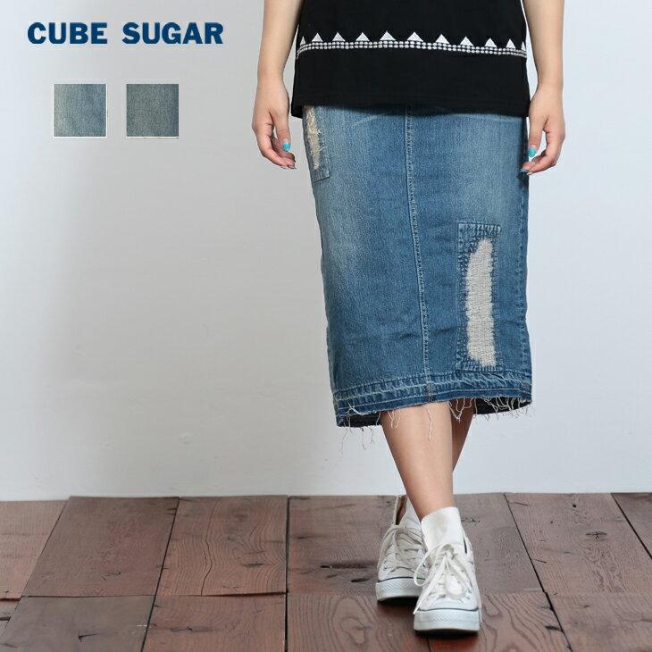 【40%OFF】 CUBE SUGAR 11ozデニム タイトスカート(2色)(S/M)【レディース】【キューブシュガー】
