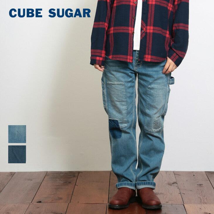 【50%OFF】CUBE SUGAR 10ozストレッチデニム テーパードペインターパンツ (2色)(S/M/L)【レディース】【キューブシュガー】