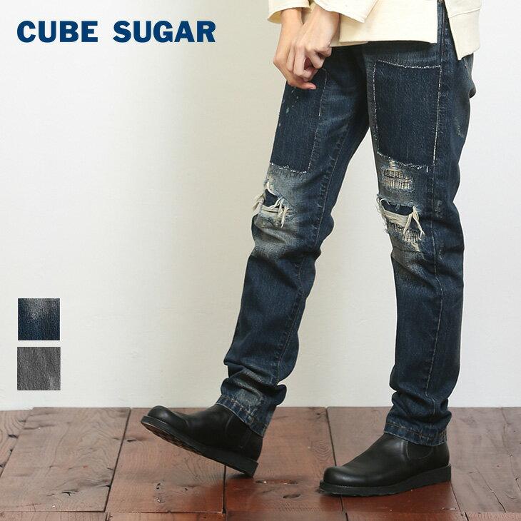 【50%OFF】CUBE SUGAR 10.4ozデニムストレートパンツ(2色)(S/M)【キューブシュガー 】【レディース】