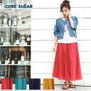 【2017年春新作】CUBE SUGAR インド綿ボイル ギャザースカート(4色)【キューブシュガー】【レディース】【PL】【送料無料】