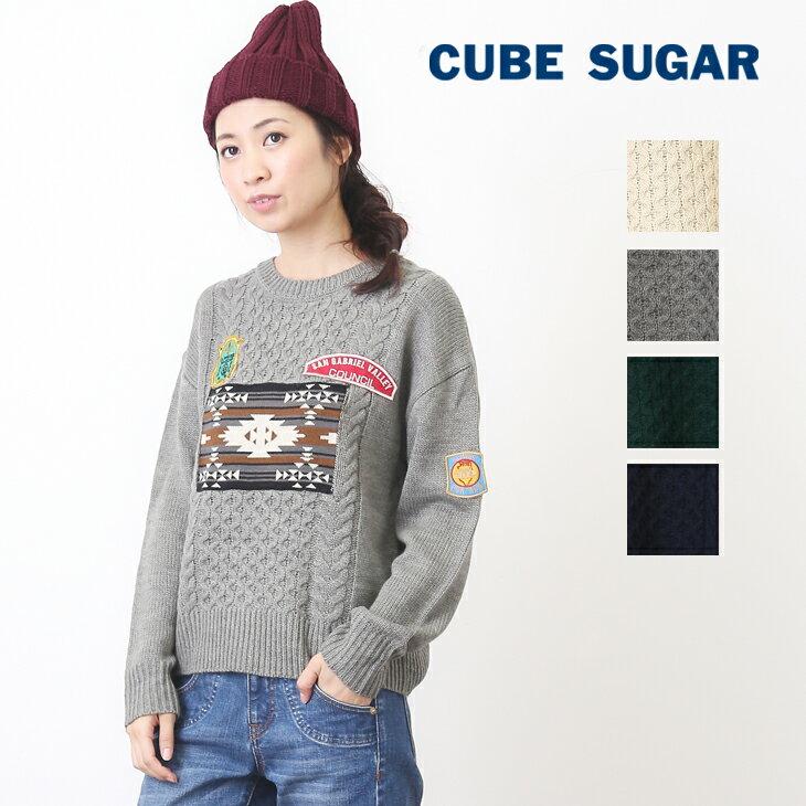【50%OFF】CUBE SUGAR ウール混パッチ付ケーブルクルー(4色)【キューブシュガー】【4U】【ニット】