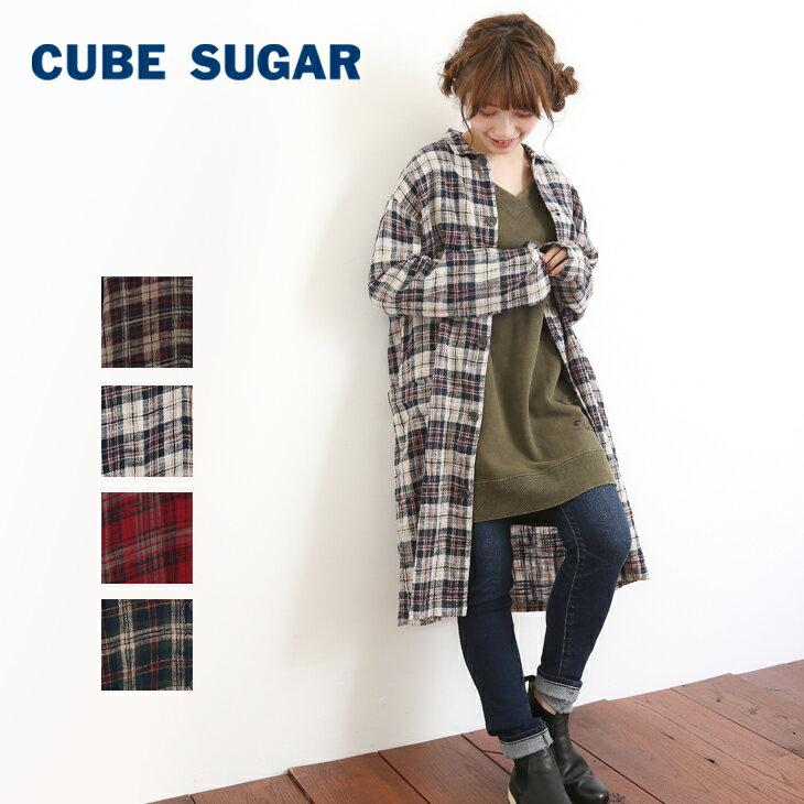 CUBE SUGAR 度甘ネルチェックコートワンピース(4色)【キューブシュガー】【4U】