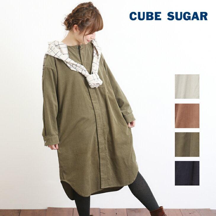 CUBE SUGAR コーディロイウエスタンビッグワンピース(4色)【キューブシュガー】【4U】