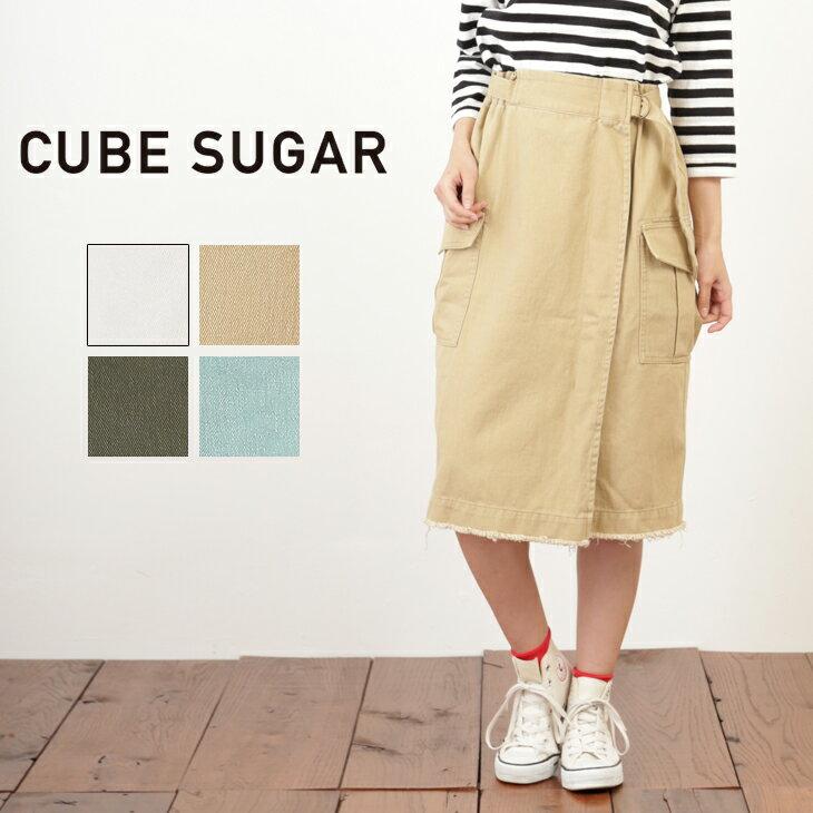 【30%OFF】CUBE SUGAR やわらかツイル サイドポケットタイトスカート (4色)【キューブシュガー】【レディース】