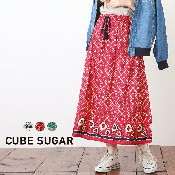 【30%OFF】CUBE SUGAR ドビーパネルプリントギャザースカート(3色)【レディース】【キューブシュガー】