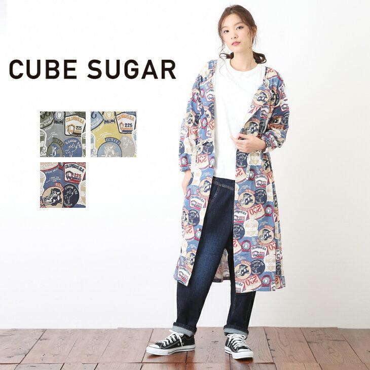 CUBE SUGAR 天竺ワッペン総柄ワンピース(3色)【レディース】【キューブシュガー】【TAG】【4U】