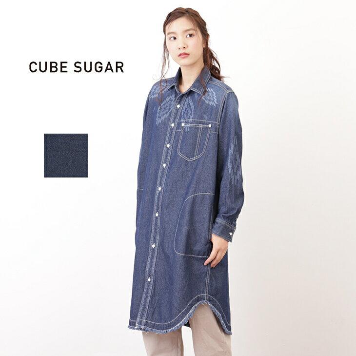 CUBE SUGAR デニム抜染オルテガプリントワークシャツワンピース(3色)【レディース】【キューブシュガー】【D】【PL】【USED風】