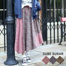 CUBESUGARフラワープリントイレギュラーヘムギャザースカート(3色)【レディース】【キューブシュガー】【TAG】【PL】