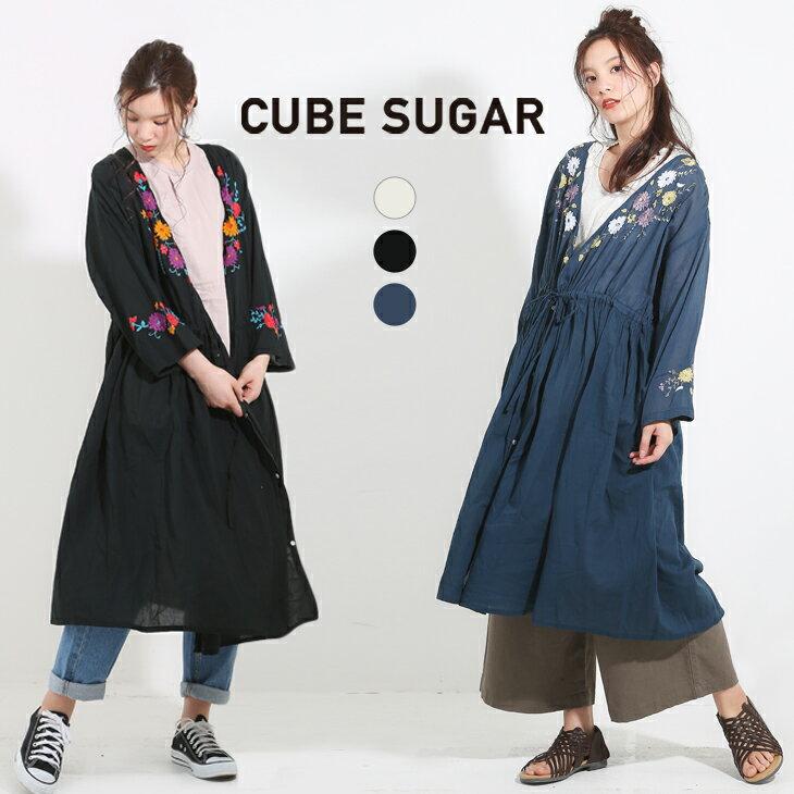 【5/21up】CUBE SUGAR 綿ボイル刺繍8分袖2WAYカシュクールワンピース (3色)【レディース】【キューブシュガー】【TAG】【4U】