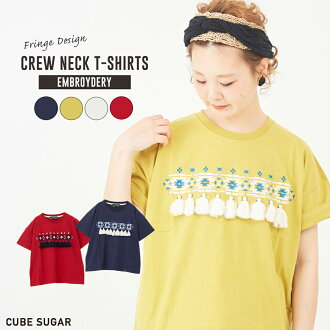An entering / CUBE SUGAR T-cloth logo print embroidery crew neck T-shirt (four colors) in spring latest embroidery T-shirt /: Lady's tops T-shirt short sleeves tassel Ortega pattern native colorful cotton cubic sugar