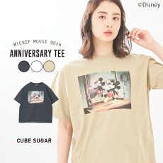 CUBESUGARMickeyMouse90thAnniversaryクルーネックTシャツ(3色):レディーストップスTシャツクルーネック半袖ミッキーディズニーアニバーサリーキューブシュガー