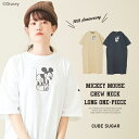 【セール除外商品】CUBE SUGAR / Mickey Mouse 90th Anniversary / クルーネック Tシャツワンピース (3色): レディース ワンピース Tシャツ 半袖 クルー