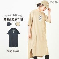CUBESUGARMickeyMouse90thAnniversaryクルーネックTシャツワンピース(3色):レディースワンピースTシャツ半袖クルーネックミッキーディズニーアニバーサリーキューブシュガー