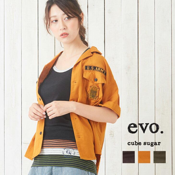 【50%OFF】cube sugar evo.(キューブシュガーエボ) ガーゼツイルミリタリー ビッグシャツ(3色)【レディース】【PL】
