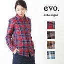 cube sugar evo.(キューブシュガーエボ) ネルチェック起毛レギュラーシャツ (4色)【レディース】【4U】