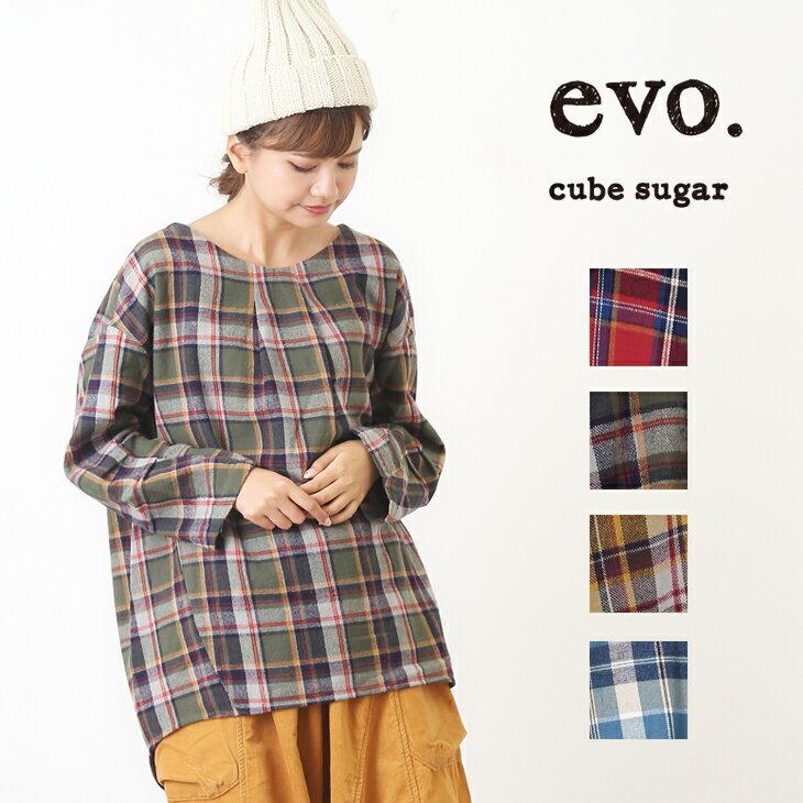 1/19 10:00スタート【週末限定TIME SALE】cube sugar evo.(キューブシュガーエボ) ネルチェック起毛チュニック (4色)【レディース】【4U】