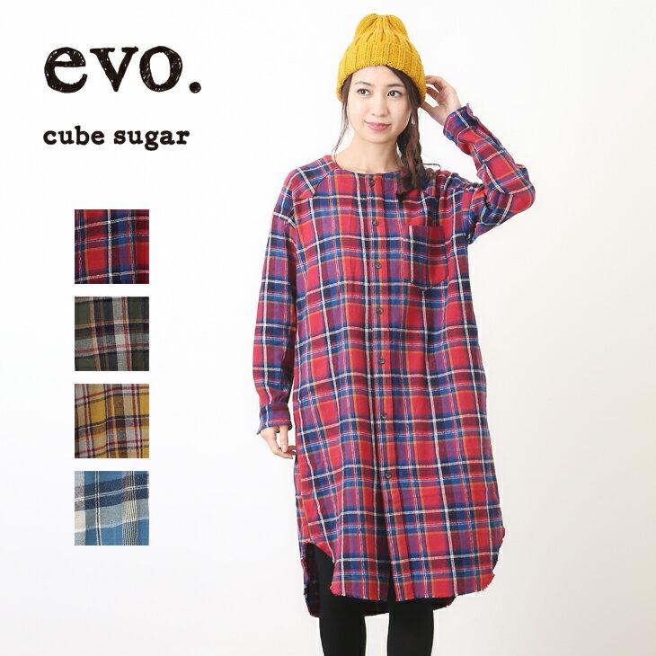 【アウトレット価格-秋冬】cube sugar evo.(キューブシュガーエボ) ネルチェック起毛ウエスタンワンピース (4色)【レディース】【4U】
