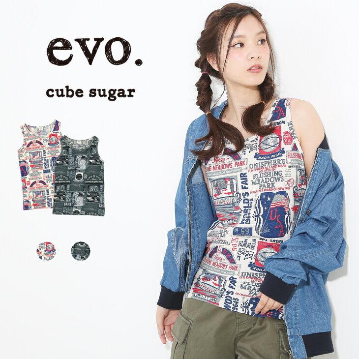 【50%OFF】cube sugar evo.(キューブシュガーエボ) 30/-総柄プリントロゴ柄タンクトップ (3色)【レディース】【4U】【インナー】