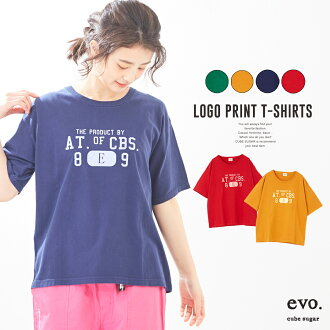 Logo T-shirt / cube sugar evo. (キューブシュガーエボ) T-cloth pigment dropped shoulder sleeve T-shirt (four colors): Lady's tops T-shirt short sleeves crew neck English letter logo dropped shoulder sleeve