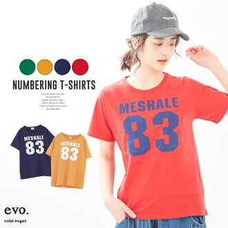 Number T-shirt / cube sugar evo. (キューブシュガーエボ) T-cloth pigment numbering print crew (four colors): Lady's tops T-shirt short sleeves crew neck number logo print