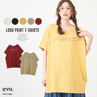 T-shirt / cube sugar evo. (キューブシュガーエボ) 20/- T-cloth powder processing dolman T-shirt (five colors) big for 4/22 20:00start premature start Golden Week: Lady's tops T-shirt dropped shoulder sleeve logo long length コットンユーズド