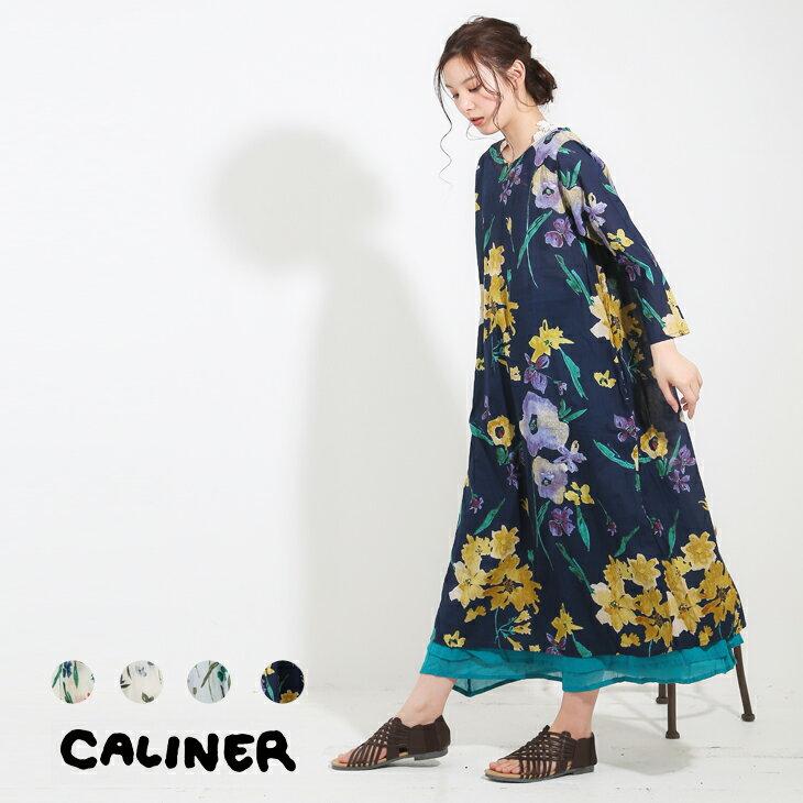 CALINER(カリネ) 100sVoile水彩花柄プリント前後着用2wayワンピ—ス (4色)【レディース】【TAG】【3180112】【4U】