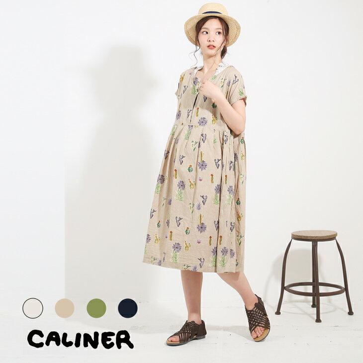 CALINER(カリネ) CottonSlubサボテン柄プリントタック使いワンピース (4色)【レディース】【TAG】【3180116】【4U】
