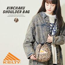 KELTY(ケルティ)デザインプリントキンチャクショルダー(1色):レディースバッグ鞄巾着バッグショルダーバッグ総柄アニマルレオパードヒョウ柄