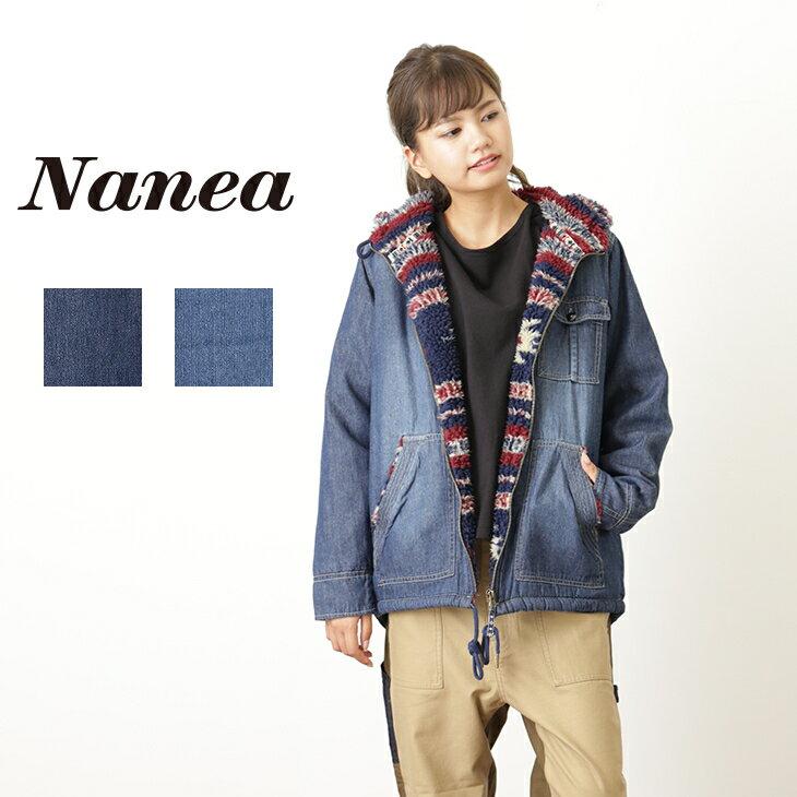 【プレ30】Nanea(ナネア) 6ozデニム裏ボアフード付きジップアップジャケット(2色)【レディース】【PL】【アウター】【送料無料】