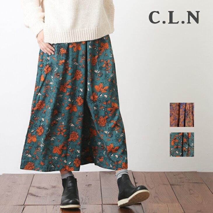 C.L.N(シーエルエヌ) フラワーガウチョパンツ(2色)【レディース】【4U】