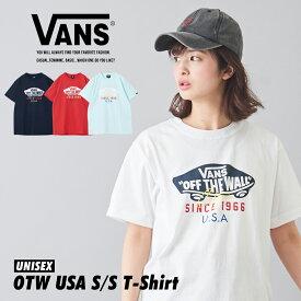 【セール除外商品】ロゴTシャツ / 春新作 / VANS (ヴァンズ) OTW USA S/STシャツ(4色): レディース トップス Tシャツ ユニセックス クルーネック 丸首 ビッグシルエット コットン 半袖 ロゴ VA20SS-MT19