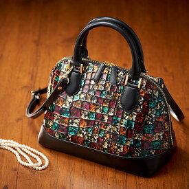 イタリアレザーハンドバッグ 本革 イタリアンレザー バッグハンドバッグ 自立 エナメル デザイン ステンドグラス軽量 バッグ カバン 鞄 大人 軽い