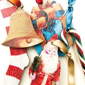 KLOKA wood ornament「xmas assort set」【木製クリスマスオーナメント5種セット サンタ&プレゼント】