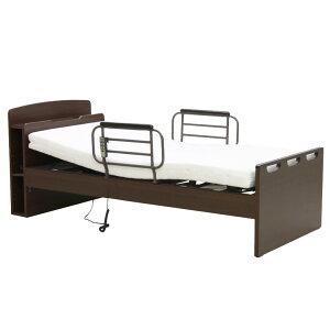 電動リクライニングベッド 2モーター シングル 電動ベッド リクライニングベッド 介護ベッド シングルベッド 木製ベッド 宮付き フレームのみ 木製 ベッドフレーム ベッド ベット ダークブ