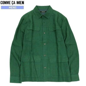 ■SALE 70%OFF■【COMME CA MEN】コムサメン リネンシャツブルゾン 緑『19/10/1』021019【ネコポスで送料無料】