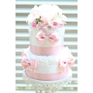 Happiness/ハピネス ピンク ダイパーケーキ おむつケーキ ベビーシャワー パーティー 安産祈願 出産祝い お祝い ハーフバースデー バースデー プレゼント ギフト 贈り物 女の子 男の子 ユニセ
