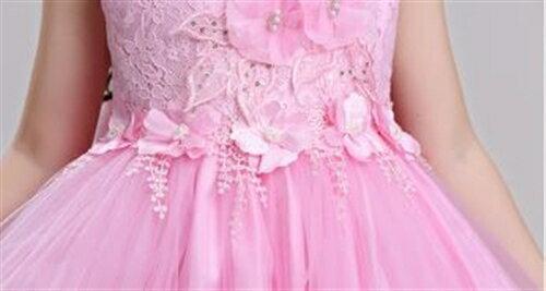 胸元レース刺繍プリンセスキッズドレス