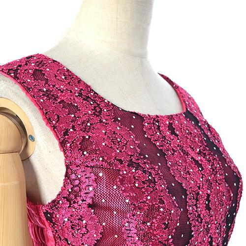 レース刺繍オーガンジーフリルAラインロングドレス♪チェリーピンクLサイズ