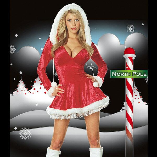 サンタ/コスプレ/レディース/クリスマス/Lサイズ/LLサイズ/XLサイズ/コスチューム/セクシー/送料無料/フードとフロントジッパーが飛び切りキュート!ふんわりエアリーなクリスマス用 サンタワンピース【コンビニ受取対応商品】