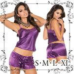 【S・M・L・XLサイズあり】艶めきシャルムーズサテンとレースのキャミソールとタップパンツのセット