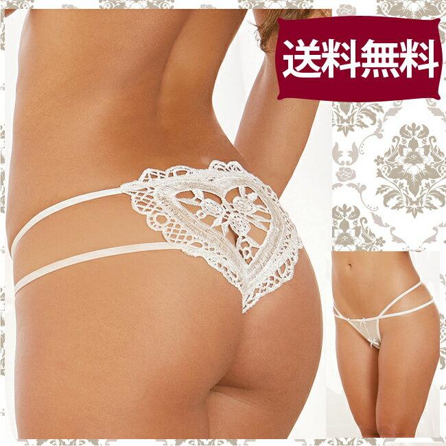 【送料無料】豪華立体ハート刺繍のオープンクロッチパンティー