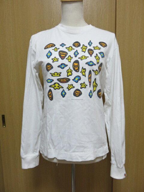 【送料無料!】A BATHING APE/アベイシングエイプ<長袖デザインTシャツ><レディース><サイズS><中古品>