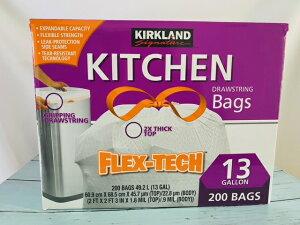 【輸入雑貨】KIRKLAND KITCHIN 200 Bags 紐付き ゴミ袋 13GALLON コストコ カークランド FLEX TECH
