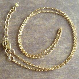 14K ゴールドフィルド 1.3mmロロチェーン ネックレス カラーサファイア14Kgf 46cm(42cm+アジャスター4cm)