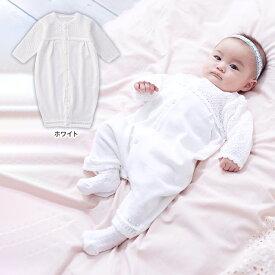 ベビー 日本製 ニットフィットドレス赤ちゃん ベビー服 赤ちゃん 肌着 新生児 服 ベビーウェア セレモニードレス お宮参り 記念日 お披露目 お出かけ ホワイト レース 女の子 男の子