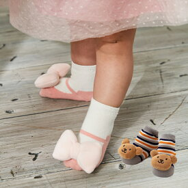 【Ampersand】ラトルソックス 靴下 音が鳴る ベビー 赤ちゃん 女の子 鈴入り 靴デザイン くま リボン ソックス おしゃれ かわいい おでかけ 秋 冬 防寒
