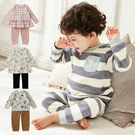 【Ampersand】 パジャマ ベビー服 子供服 キッズ 赤ちゃん 寝巻 部屋着 ボーダー 総柄 チェック 女の子 男の子