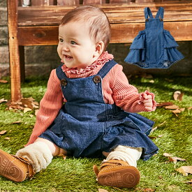【La stella】 デニム フリル サロペット 赤ちゃん 女の子 ベビー服 デニムスカート ベビー 服 スカート おしゃれ かわいい